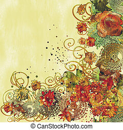 colorful virág, határ, virágos, festmény, gyönyörű
