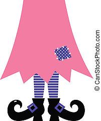 combok, csinos, elszigetelt, -, boszorkány, bíbor, rózsaszínű, fehér