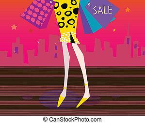 combok, woman bevásárol, hosszú