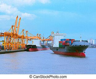 comercial, hajózás, export, import, tároló hajó, rév