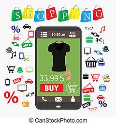 commerce., smartphone., elektronikus, bevásárlás