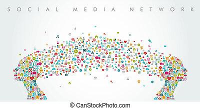 composition., gazdag koncentrátum, hálózat, média, alakít, társadalmi, eps10, file., nők