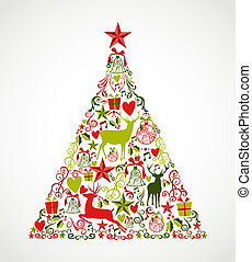 composition., réteg, alapismeretek, eps10, könnyen, színes, fa, szervezett, alakít, vidám, editing., vektor, reindeers, reszelő, ünnep, karácsony