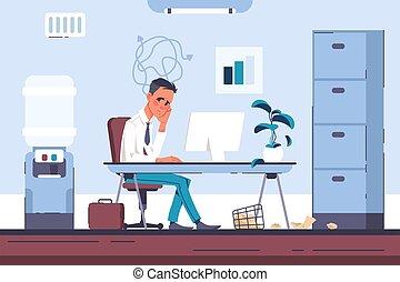 computer., üzletember, dolgozó, vektor, fáradt, hivatal munkavállaló, ember, anyagi, burnout, fejfájás, worker., stress., túlterhel, feszültség, aggaszt, workplace, lélektani, kényszer
