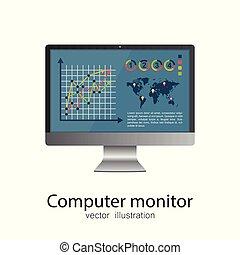 computer monitor, elszigetelt, ábra, háttér., vektor, fehér