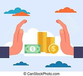 concept., ábra, bankügylet, vektor, tervezés, karikatúra, grafikus, megtakarítás, lakás, pénz