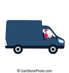concept., autó., ember, covid-19., coronavirus, megállít, páncélszekrény, közben, izolál, felszabadítás, otthon