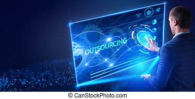 concept., ellenző, tényleges, inscription:, hálózat, üzletember, őt ért, dolgozó, jövő, internet, outsourcing, technológia, fiatal, ügy