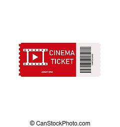 concept., fehér, mozi, icon., gyakorlatias, film., kupon, cinemas., nézet., színház, movie., piros, modern, hágó, cédula, megbeszél, kártya, bevon, elszigetelt, elülső, 3, háttér., vektor, szórakozás