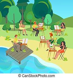 concept., festmény, plein, művész, outdoors., emberek, levegő, fiatal