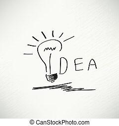 concept., gondolat, kreatív, alakít, vektor, tervezés, gumó, elem, ihlet