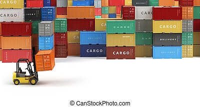 concept., hajózás, forklifts, rakomány, hely, raktárépület, terület, tárolás, text., vagy, felszabadítás, tároló