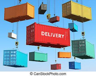 concept., hajózás, rakomány, háttér, terület, tárolás, felszabadítás, tároló, forklifts.