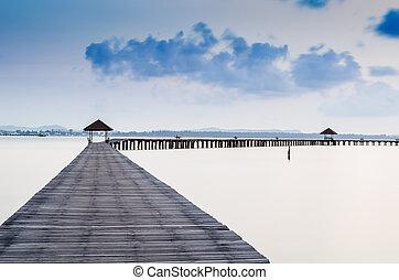 concept., móló, megüresedések, tropikus, paradise., idegenforgalom