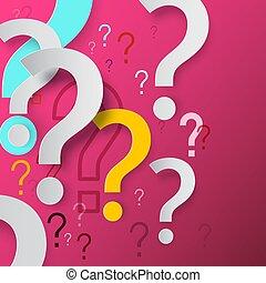 concept., megjelöl, vektor, háttér., probléma, oldás, kérdez, design., faq, rózsaszínű, megjelöl, rejtély