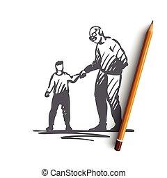 concept., modor, fiú, elszigetelt, vector., kölyök, nagyapa, jó, segítség, kéz, húzott