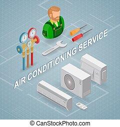 concept., nedvességtartalom szabályozás, levegő, equipment., service., isometric, munkás