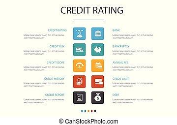 concept., opció, infographic, 10, értékelés, csőd, kockáztat, hitel, bemetsz