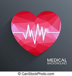 concept., polygonal, vektor, szív, orvosi, háttér, háló, sablon, ábra, mozgatható