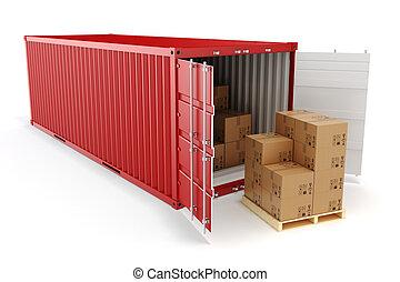 concept., rakomány, szállít, konténer, 3, dobozok, iparág
