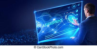 concept., screen:, tényleges, hálózat, tabletta, üzletember, dolgozó, internet, értékelés, választ, technológia, jövő, fiatal, ügy