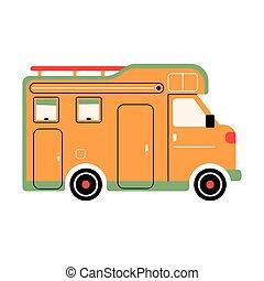 concept., szórakozási, camper., háttér, otthon, ábra, vektor, autó., recreation., bnlom, ünnep, pihenés, trailer., elgáncsol, irány, out-of-town, rv, színes, mozgatható, elszigetelt, külső
