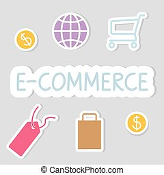 concept-, vektor, e-commerce, ábra