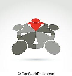concept., vektor, emberek, fő, -, idea., ábra, körvonal, álló, csapatmunka, befog, karika, vezető, szövetkezik, közösség