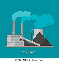 concept., vektor, factory., energia, villanyáram, ipari, állomás, berendezés, style., háttér, szén, lakás, ábra, erő