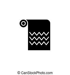 concept., vektor, fekete, jelkép, lakás, ikon, törülköző, aláír, illustration.