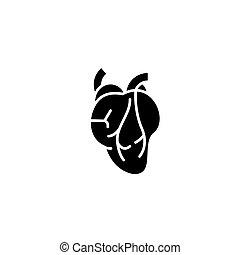 concept., vektor, szív, fekete, jelkép, lakás, ikon, aláír, illustration.