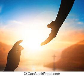 concept:silhouette, világ, elérő, kéz, béke, nap, jézus, ki