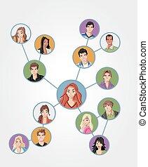 connected., emberek, fiatal