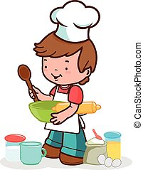 cooking., vektor, ábra, gyermek