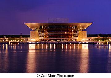 copengagen, épület, opera