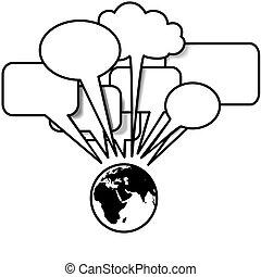 copyspace, blogs, beszél, beszéd, tweets, földdel feltölt, kelet, buborék