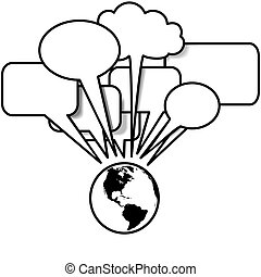 copyspace, nyugat, blogs, beszél, beszéd, tweets, földdel feltölt, buborék