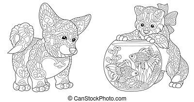 corgi, kutya, cica