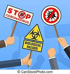 coronavirus, abbahagy, tiltakozás, 2019-ncov