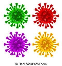 coronavirus, cellák, állhatatos, vírus, covid-19