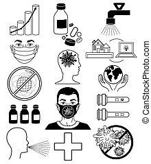 coronavirus, concept., abbahagy, ikonok, bacteria., covid-19