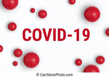 coronavirus, felírás, white háttér, covid-19, formál, piros, feszít