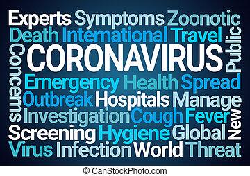 coronavirus, felhő, szó