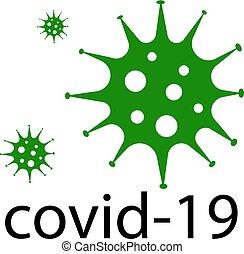 coronavirus, green., globális, országos járvány, covid-19, alert., jelkép