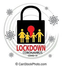 coronavirus, helyzet, kitörés, izolál, jelkép., járvány, lockdown, szennyeződés
