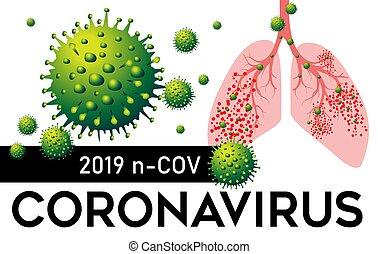 coronavirus, illustration., vektor, pneumonia, 2019, tüdő, észak, cov, kína