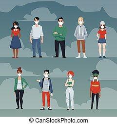 coronavirus, maszk, illustration., vektor, emberek, járvány, lakás, covid-19