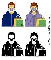 coronavirus, női, háttér, fogalom, oltalmazó, hím, covid-19, 2019, fárasztó, anyagbeszerző, fehér, maszk, orvosi, regény, elszigetelt, bevásárol táska