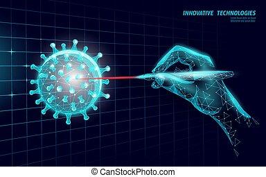 coronavirus, poly, 3, vektor, influenza, pneumonia., modern, abbahagy, analízis, technology ábra, vírus, influenza, tudomány, fertőzés, laboratórium, orvosság, alacsony, render.