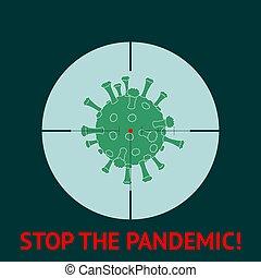 coronavirus., regény, abbahagy, pandemic., gunpoint., 2019-ncov, illustration., vektor, coronavirus